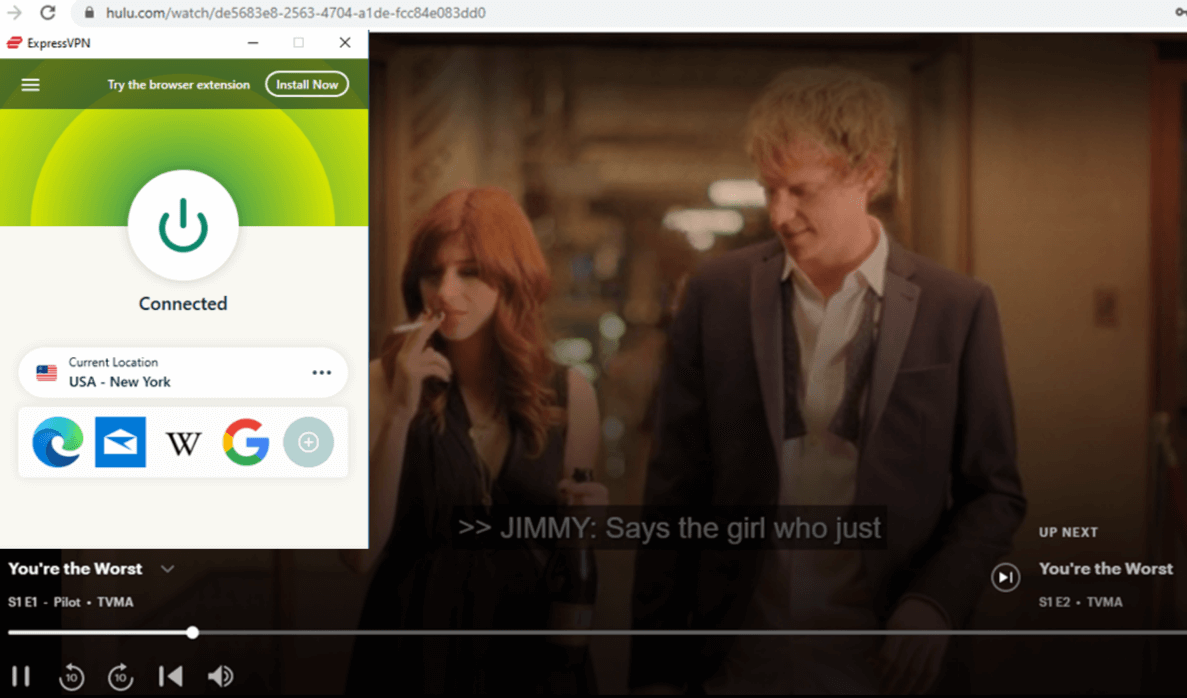 ExpressVPN streaming You are the Worst on Hulu